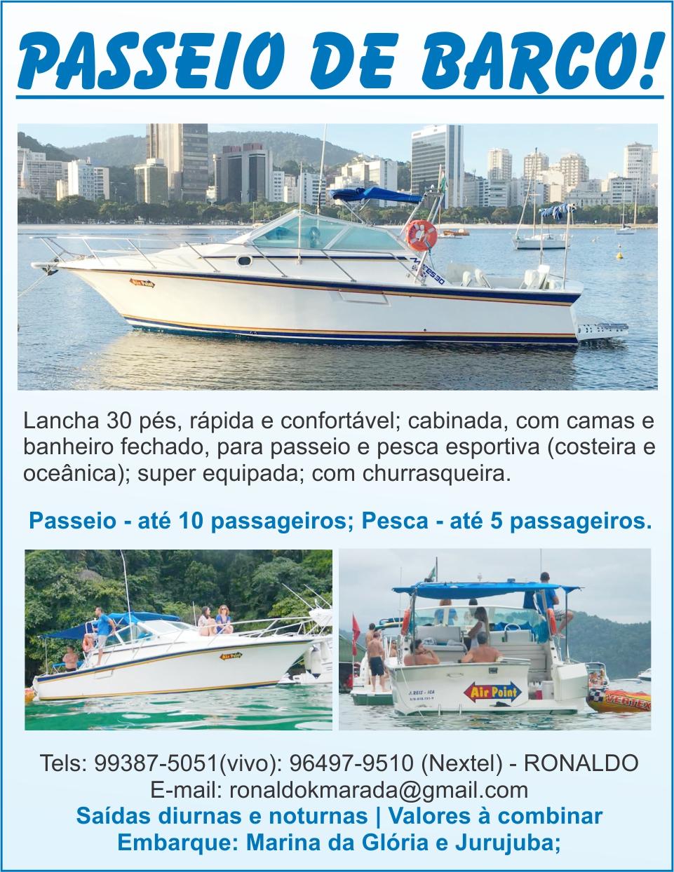 Passeio de barco Ronaldo